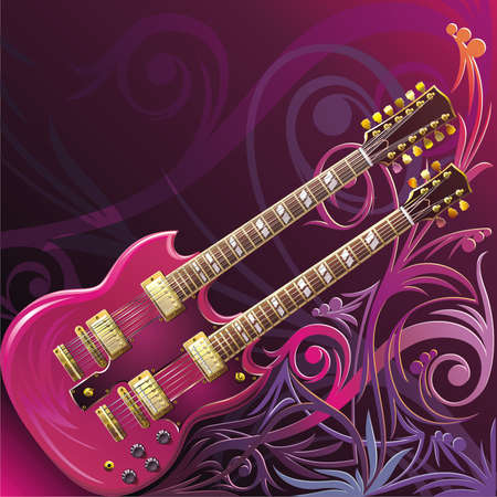 Double neck guitar Vector