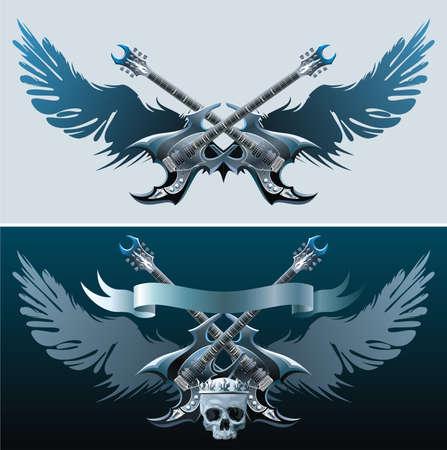 Símbolos de heavy rock. Ilustración de vector