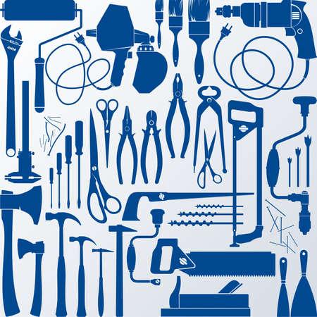 plumber with tools: Siluetas Herramientas Vectores