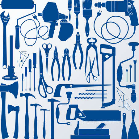 nail scissors: Tools silhouettes Illustration