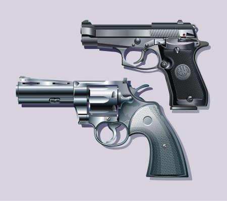 Machine pistol and revolver.