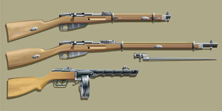 carbine: WWII Russian weapon Illustration