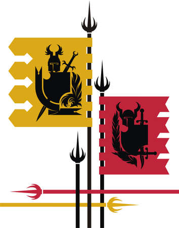 Heraldic composition with two banners