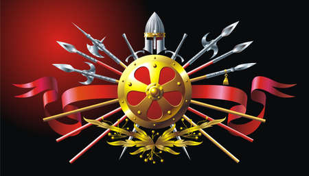 Heraldic composition with helmet, ribbon and spears Vector