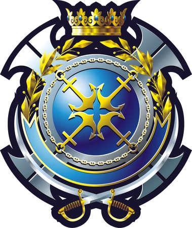 cutlass: Emblema de la Marina de estilo con anclaje, la Cruz y la corona  Vectores