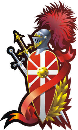 war decoration: Armorial composition with helmet swords, ribbon and branch.  Illustration