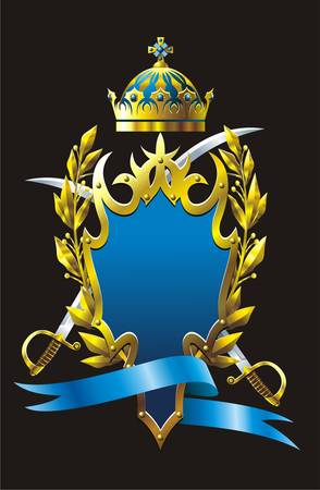 rivet: Heraldry emblem with cross sabres and branches.