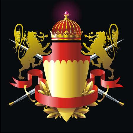 blazon: Heraldry badge with lions Illustration