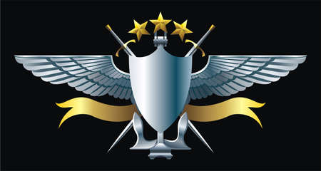 NAVY style emblem with anchor, stars and wings Vector