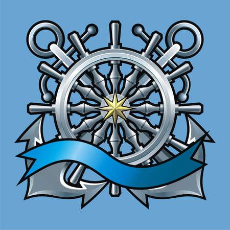 wind wheel: Emblema di stile marino con volante e nastro