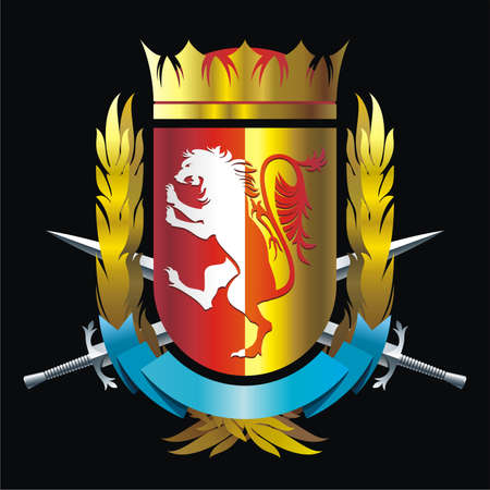 Heraldry emblem with lion, crown and swords Vector