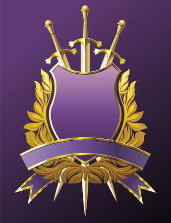 blasone: Emblema di araldica con corona, scudo e tre spade