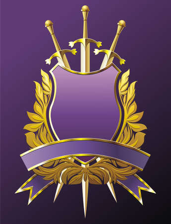 Heraldiek embleem met kroon, schild en drie zwaarden