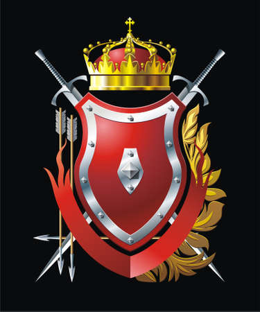 Red shield with crown, arrows  and two swords Vector
