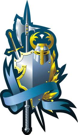 blasone: Araldica composizione con casco spada, ascia, nastro e succursale.