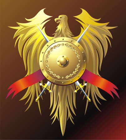 buckler: Heraldic composition with eagle, buckler and sword