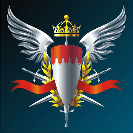 shield and sword: Heraldry emblem with iron wings, crown and swords