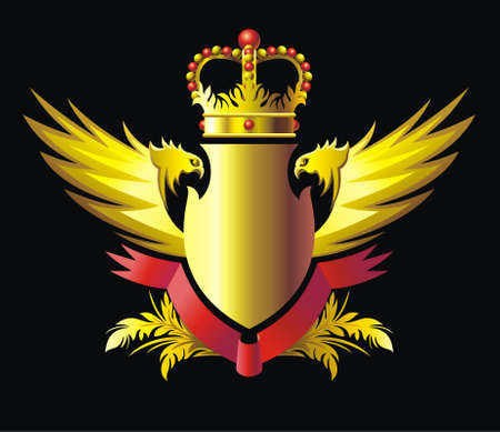 Heraldry emblem with crown, wings and ribbon Vector