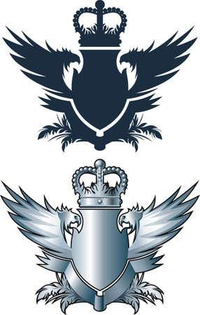 blasone: Emblema araldico con corona, ali e barra multifunzione