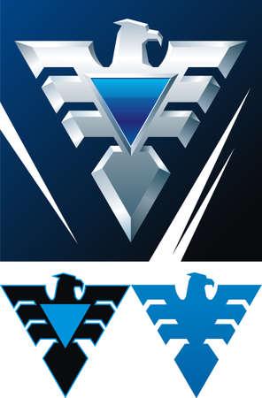 silhouette aquila: Emblema araldico con iron eagle con badge