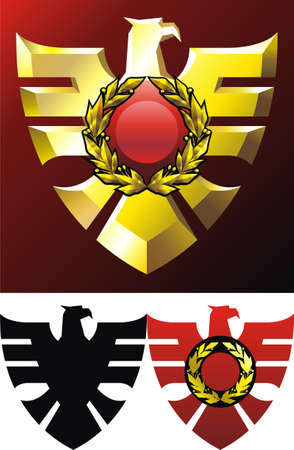 Heraldry emblem with gold eagle and laurel wreath