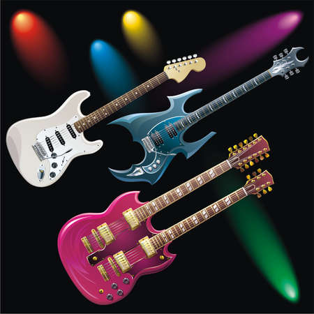 Three guitars and five color spotlights Illustration