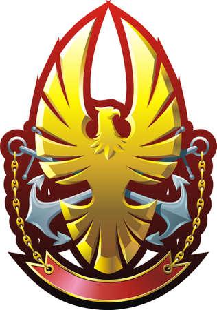 blasone: Composizione araldico con eagle, ancoraggi e barra multifunzione Vettoriali