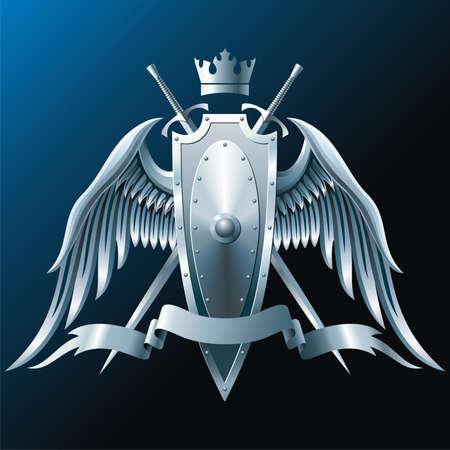 Composición con corona, espadas, alas, insignia y cinta.