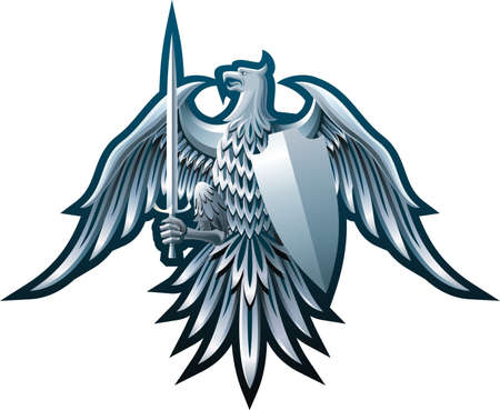 shield with wings: Composition with eagle, sword and badge on black background.