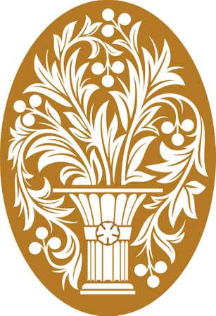 Ilustración vectorial con flor en el florero sobre fondo amarillo
