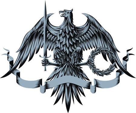 blasone: Illustrazione vettoriale con eagle, spada, corona di alloro e nastro.