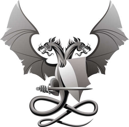 Heraldic composition with dragon, badge and sword.