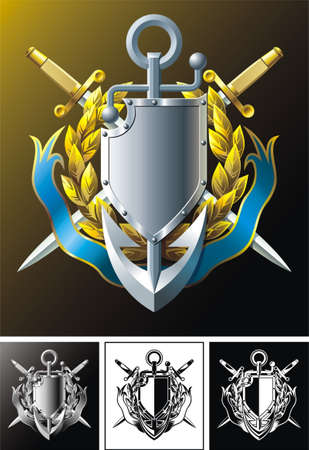 Vector composition with anchor, dirks, laurel wreath, shield and ribbon  Illustration