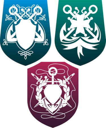 dirk: Three heraldic composition with anchors, dirks,  shields and ribbons  Illustration