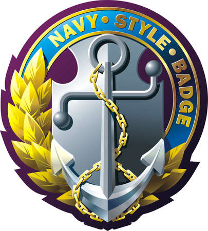 Vector emblem with anchor, chain, laurel wreath and ribbon
