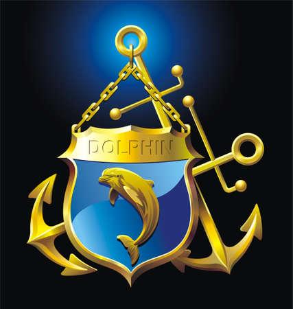 ancre marine: Vector illustration de deux ancres, bouclier, de dauphins et de la cha�ne Illustration