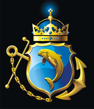 delfini: Illustrazione vettoriale con l'ancora, scudo, Dolfin, corona e catena