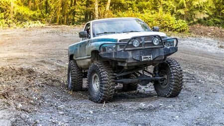 British Columbia, Canada. Off-road monster truck in the forest. Stock Photo