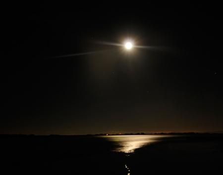 Mid night moon long exposure  Stock Photo