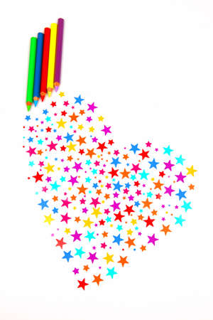 colourful stars and pencils photo