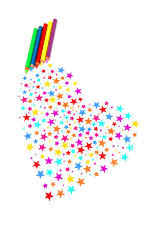 colourful stars and pencils gets a heart photo