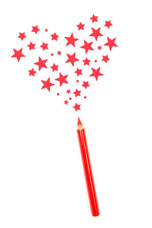 magic pencil drawn red heart of stars photo