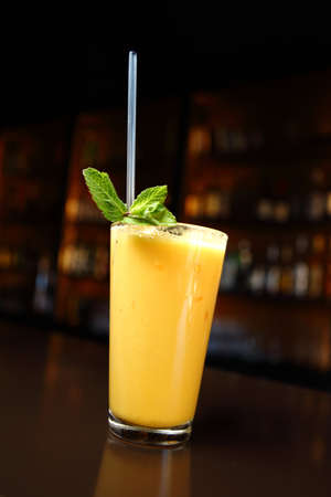 cocktail with fresh mint and mango