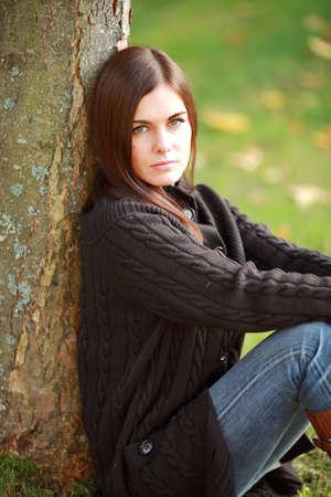 beatitude: Woman in autumn park Stock Photo