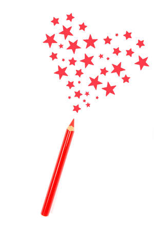 magic pencil drawn red heart of stars photo