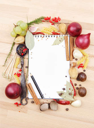 notebook for recipes and spices photo