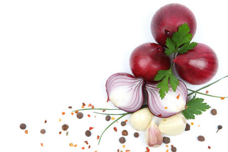 onion with garlic and spices isolated on white background Stock Photo - 15978812
