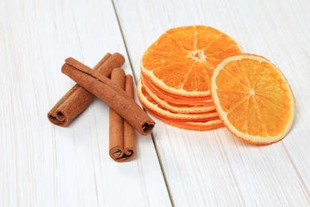 Sliced dried orange with cinnamon sticks and anise Reklamní fotografie