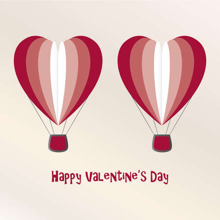 air baloon: Two Love Air Baloons Valentine Day Card Vector Illustration