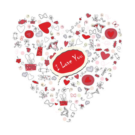 valentineday: Pattern with valentineday symbols, sketch style background for your design Illustration